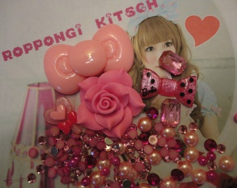 Kawaii decoden deco diy charm cabochon big pink bow  starter kit  AA1---USA seller