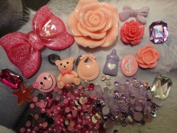 Kawaii decoden deco diy big pink bow cabochon charm  kit  A3     USA seller
