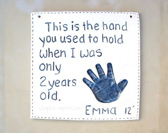 Kids and Baby Handprint Plaque - Keepsake Child Plaque for Mom & Dad - Child Memento - Baby Keepsake - Gift For New Mom -Personalized Baby