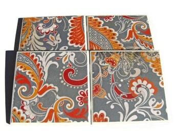 Orange Gray Paisley Handmade Tile Coasters Set of 4, Distressed Vintage Floral Drink Coasters Beverage Coasters