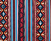 Turquoise and Rust Southwest Stripe Print Pure Cotton Fabric--One Yard