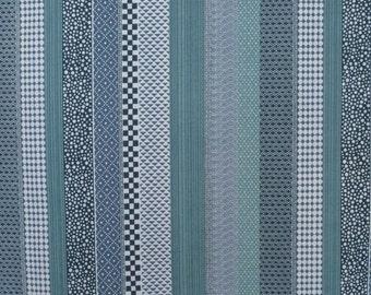 Hamada Indigo Stripe Print Pure Cotton Fabric from Alexander Henry--One Yard