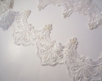 White on White Embroidered Beaded Organza Trim--One Yard