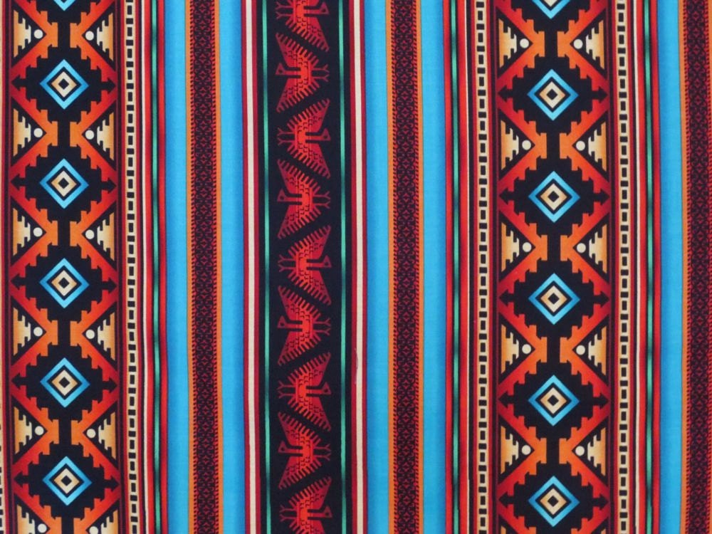 Turquoise And Rust Southwest Stripe Print Pure Cotton
