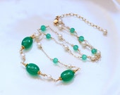 AAA Green Onyx Necklace, Freshwater Pearls, 14k Gold Filled, Adjustable, June Birthstone Gemstone