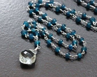 30% OFF - Green Amethyst Blue Apatite Necklace, Argentium Sterling Silver, Neon Pecock, February Birthstone, Wire Wrapped, Toggle Clasp