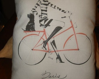 Paris Girl On Bike Paris French France Decorative Pillow Room