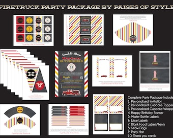 Firetruck Birthday Party Package- Printable