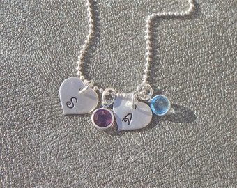 Two Personalized Sterling Silver Initial Heart Charms with Swarovski Crystal Birthstone - Gifts for Her - Gifts for Mom - Christmas