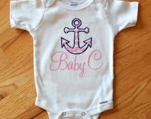 Personalized Anchor Onesie Baby GIrl - Preppy Chevrons Nautical Anchor Onesie