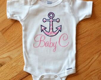Personalized Anchor Onesie Baby GIrl - Preppy Chevrons Nautical Anchor Onesie