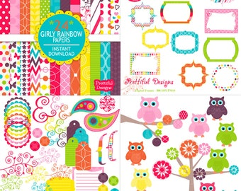 Digital Scrapbook Kit with Papers, Frames, Owls and Clip Art - Girly Rainbow