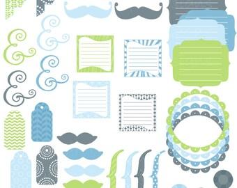 Boy Clip Art Digital Frame Mustaches Tag Brackets Journal Spots Ampersand Commercial Use Jack