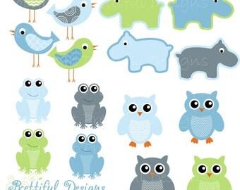 Owl Clip Art Hippo Clip Art Frog Clipart Bird Clip Art Baby Boy Colors Digital Scrapbooking Commercial Use