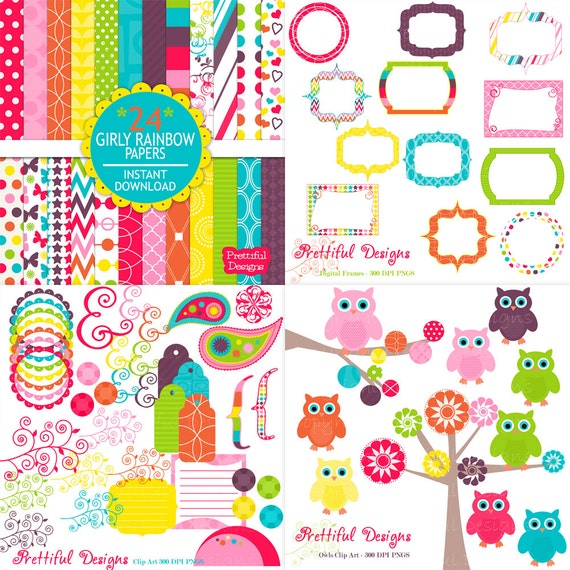 25% OFF Sale Digital Scrapbook Kit with Papers, Frames, Owls and Clip Art - Girly Rainbow (567) (565) (564) (568)