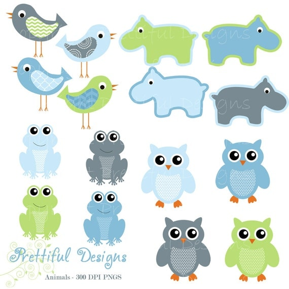 50% Off Sale Owl Clip Art Hippo Clip Art Frog Clipart Bird Clip Art Baby Boy Colors Digital Scrapbooking Commercial Use (668)