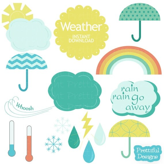 50% Off Sale Weather Clip Art Digital Scrapbooking Hip Colors Umbrellas Rain Drops Rainbow (680)