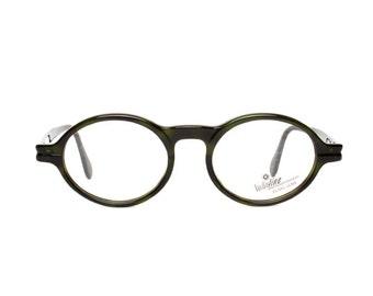 dark olive green glasses frames - oval vintage eyeglasses - original 80s panto eyewear in 30s / 40s style - verde
