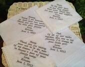 Set Of Any 4 Custom Embroidery Wedding Handkerchief