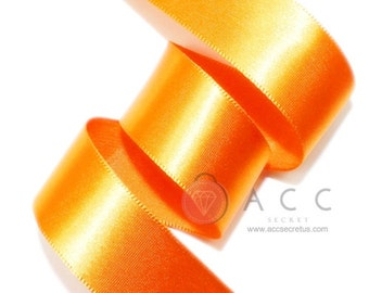 Orange Single Faced Satin Ribbon - 5mm(2/8''), 10mm(3/8''), 15mm(5/8''), 25mm(1''), 40mm(1 1/2''), and 50mm(2'')