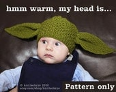 PDF pattern only - Knitting Yoda Hat Pattern - child & adult sizing included ( instant Download ).