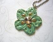The Unusual - Turquoise Green Spring Flower Ceramic Pendant
