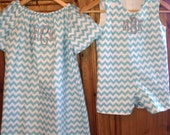 Brother sister matching chevron outfits