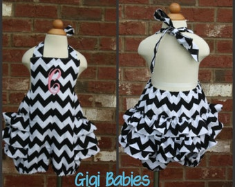 Chevron ruffled romper with monogram