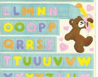 Vintage 80's Illuminations Alpha-Sticks Create a Banner Teddy Bear Letters Sticker Sheet