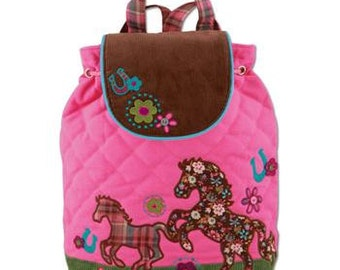 Personalized Monogrammed Stephen Joseph Signature Collection Quilted Pink Horse Backpack--Free Monogramming--