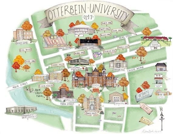 5x7 otterbein university campus map by thehivestudioshop on etsy - The five star student dormitories boutique style spoil ...