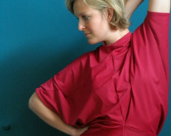 50% DISCOUNT oversized stretch dress // bat wing dress // fuchsia