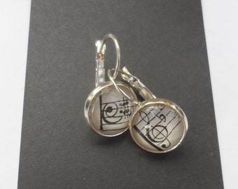 Vintage Music Earrings,  French Hoop Sterling Silver Overlay