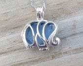 Sea Glass Elephant Locket Blue With Chain 16 Inch by WaveofLife™
