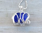 Sea Glass  Elephant Necklace Locket Frosted Cobalt Blue™