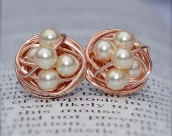 Cream pearl - Rose Gold Series- Cream Swarovski glass pearl beads and Rose gold Wire Wrapped Stud Earrings studs