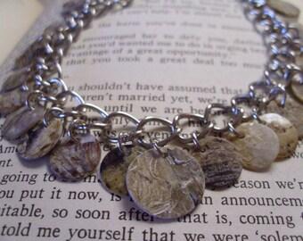 Brown sea shell coin charm bracelet