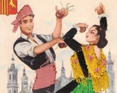 Vintage Spanish Couple man woman DANCER EMBROIDERED Postcard ZARAGOZA Valencia Spain