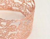 Rose gold bracelet,24 karat gold plated bracelet, Wide Lace cuff Bracelet