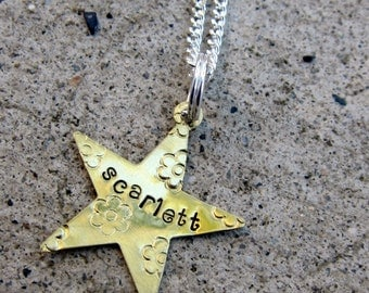 Star Name Necklace - Hand Stamped Necklace    -Made to Order-