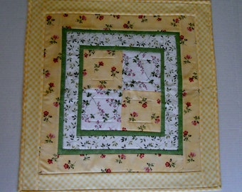 Quilted TableTopper, Quilted Table Runner, Yellow and Green, Square Table Topper, Floral Table Quilt, Cottage Chic