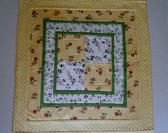 Floral Quilted TableTopper, Quilted Table Runner, Yellow and Green, Square Table Topper, Floral Table Quilt, Cottage Chic Table Quilt