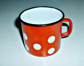 Enamel  Red Mug with Polka Dots  Enamelware Cup Vintage
