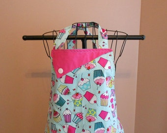 Cupcakes and Aqua Polka Dots Apron