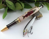 Personalized Mighty Salmon Wood Inlay Fisherman Outdoor's Men Writing Pen - Free Engraving