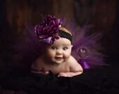 Purple Woodland Newborn Tutu Set with Optional Rose Headband...Photo Prop, Baby Shower Gift...Baby, Toddler, Girls Sizes . . . PURPLE WILLOW