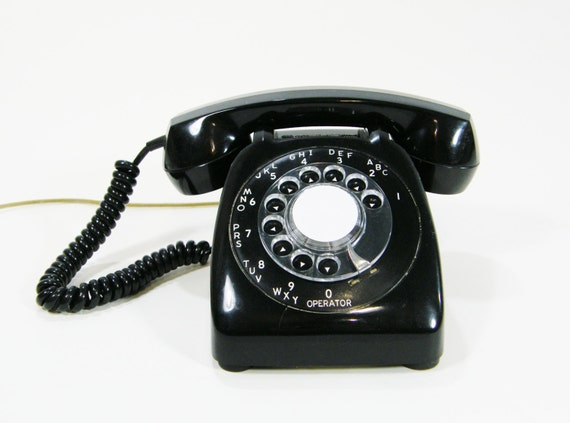 Vintage Telephone Black rotary dial phone Works