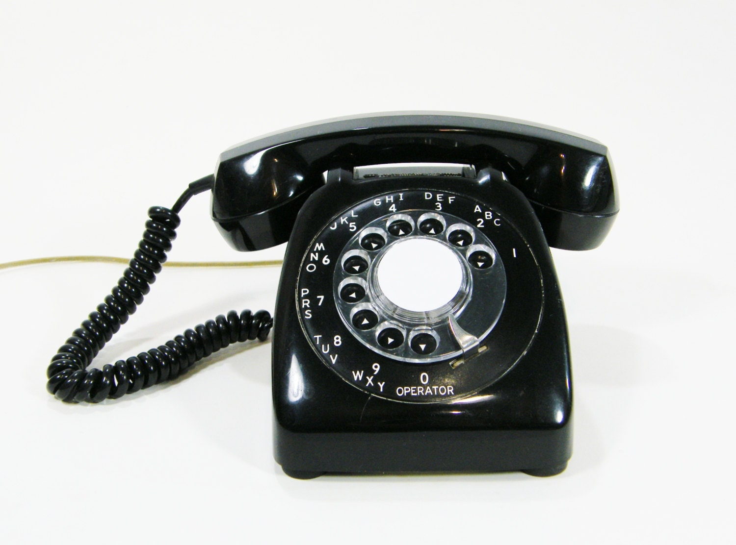 Vintage Telephone Black rotary dial phone Works