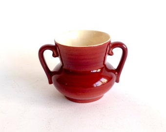 Small Maroon Red Wing Sugar Bowl ... Normandy Double Handled, Miniature, Urn, Vessel, Red, Ceramic