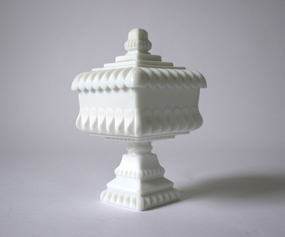 Vintage White Milk Glass Wedding Bowl Compote Candy Dish